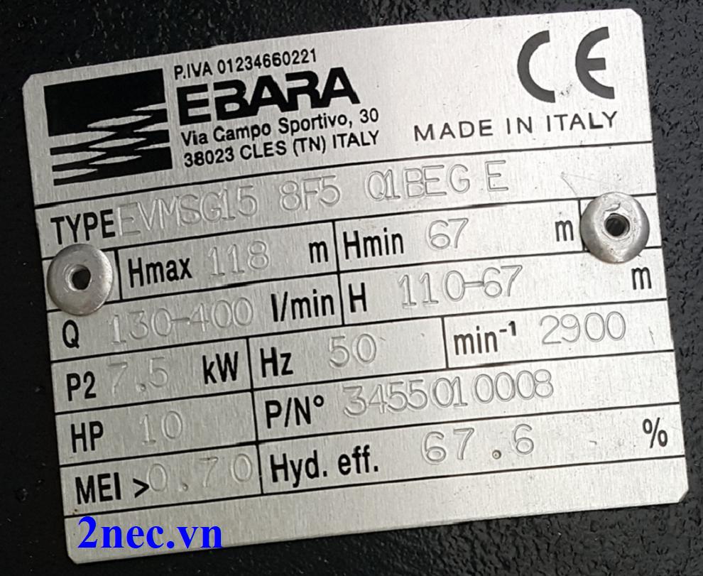 mác máy bơm Ebara EVMSG